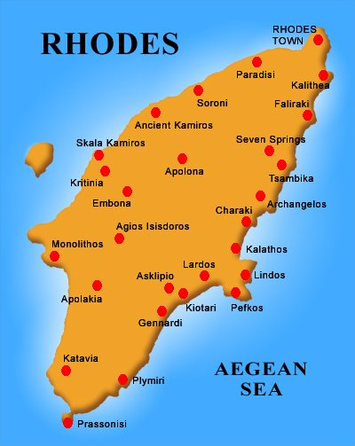 Kaart van het Griekse eiland Rhodos